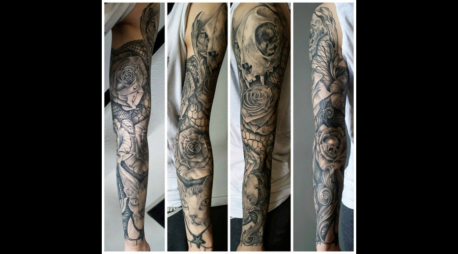 Cat Sphinx Realism Realistic Skull Rose Lacework Arm