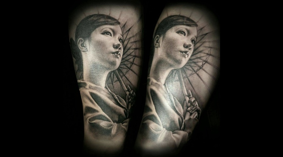 Geisha  Black And Grey   Realistic Forearm