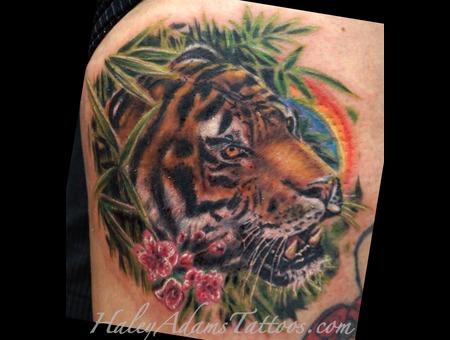 Tiger Tattoo  Animal Tattoo  Hyper Realistic Tattoo  Cat Color Tattoo  Thigh