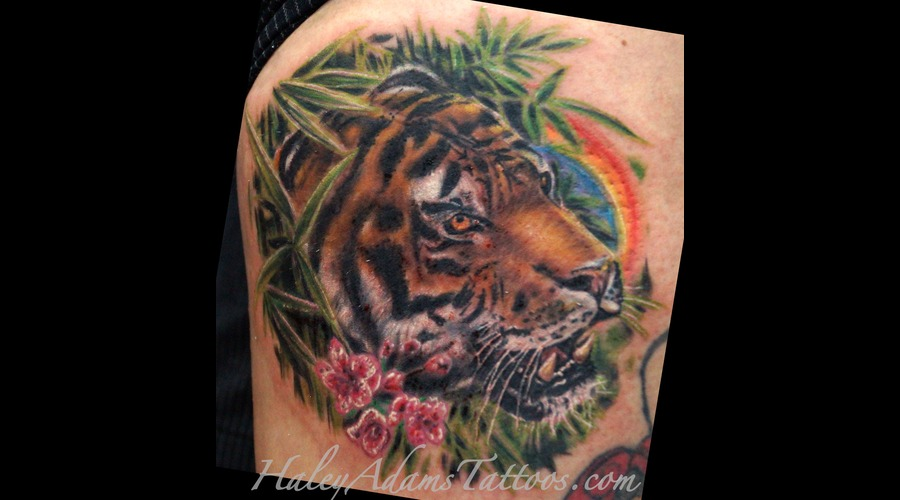 Tiger Tattoo  Animal Tattoo  Hyper Realistic Tattoo  Cat Color Tattoo  Thigh