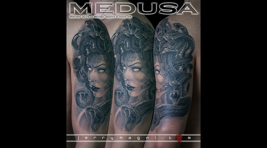 Medusa  Portrait  Mithology  Snakes  Black And Grey Black Grey Arm