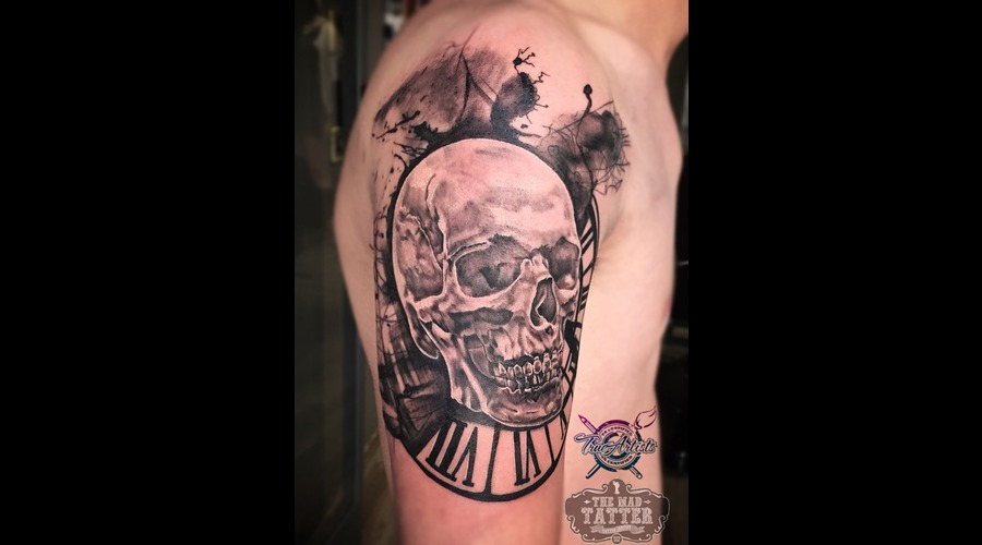 Watercolor Tattoo   Skull Tattoo   Clock Tattoo  Arm