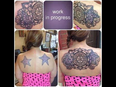 Cover Up Tattoo   Mandala   Before And After  Line Design Back
