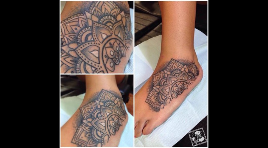 Mandala  Foot Tattoo  Line Design Foot