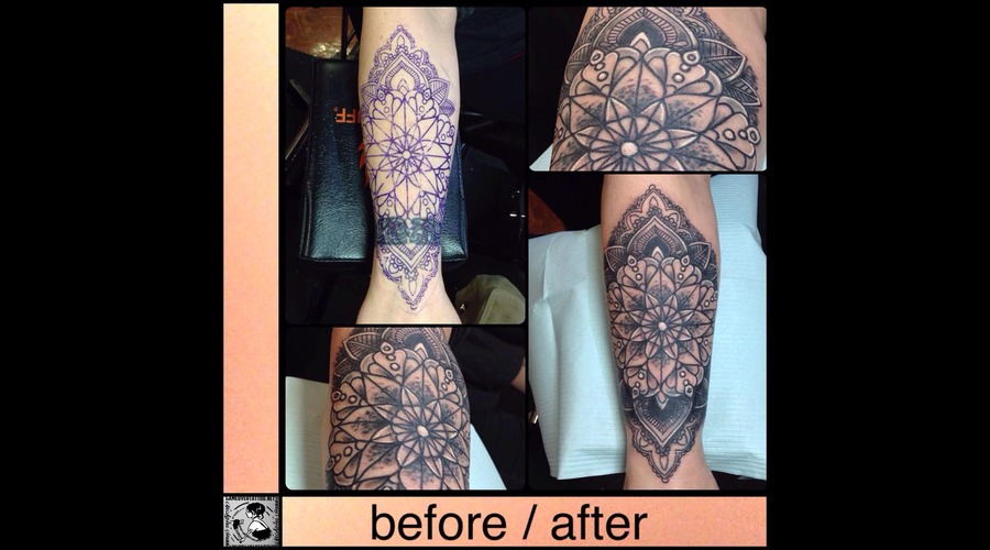 Cover Up Tattoo   Mandala   Line Design   Before And After Forearm
