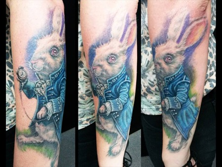 Rabbit Tattoo  Alice In Wonderland  Full Color Realism Forearm