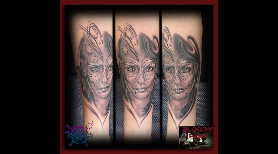 La Catrina  Los Muertos  Face  Portrait Arm