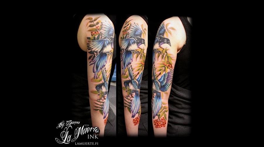 Magpies Tattoo  Rowan Tattoo   Arm