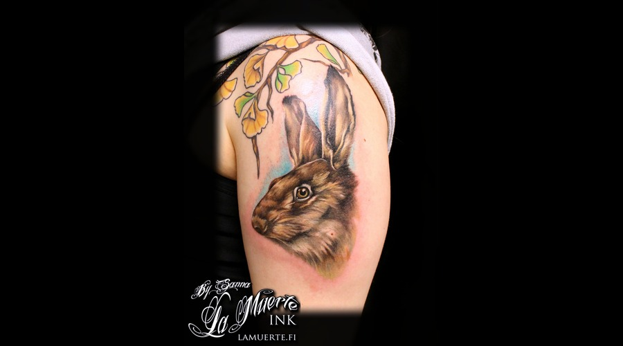 Brown Hare Tattoo Shoulder