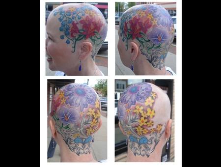 Head Tattoo Flower Color Color