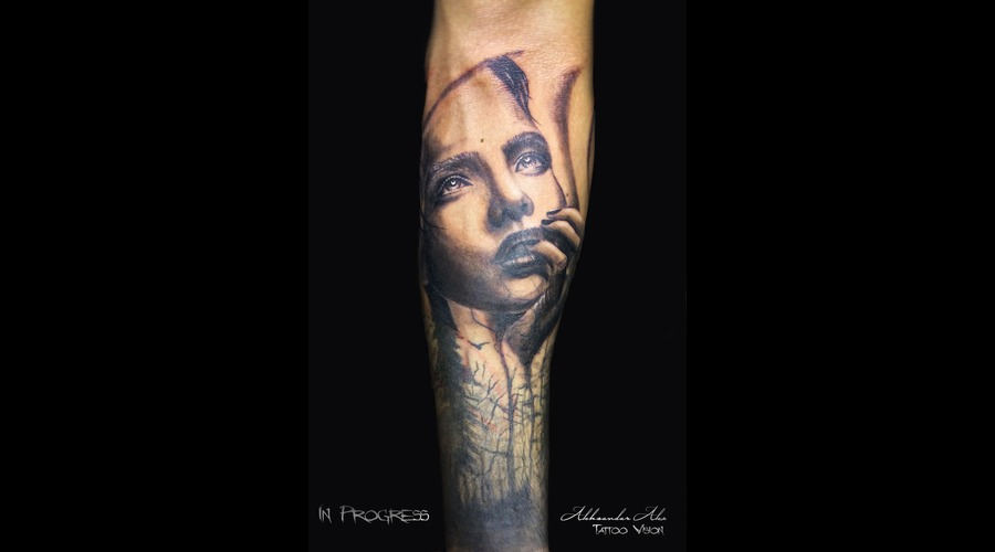 Girl  Face  Cover Up  In Progress  Realistic Forearm