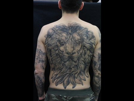 Lion  Portrait  Realistic  Black And Grey Back