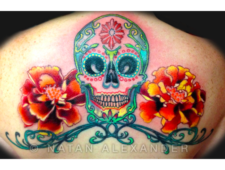 Skull  Sugar Skull  Flowers  Colorful  Day Of The Dead Back