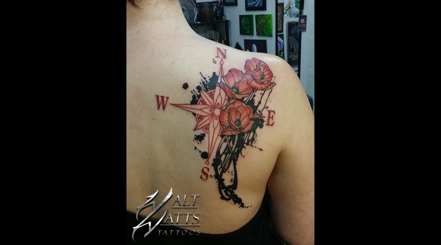 Compass Poppys Ink Shoulder