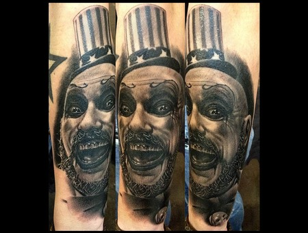 Realistic Tattoo  Black And Gray Tattoos  Capt. Spaulding Tattoos... Black Grey