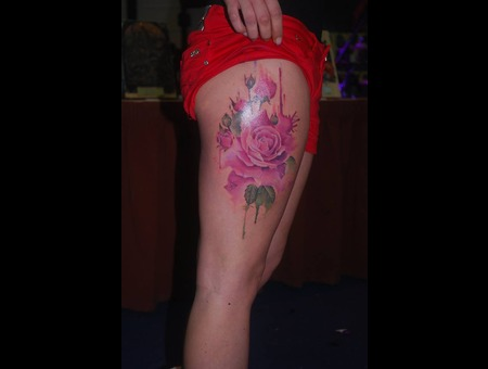 Colour Realistic Rose Watercolour Flower  Thigh