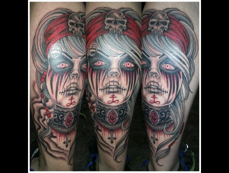 Dead Girl  Zombie  Voodoo  Pinup  Custom Lower Leg