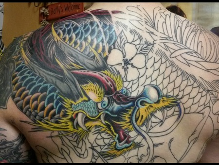 Cover Up  Dragon  Japanese  Custom Back