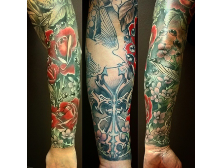 Skull  Flower  Bird  Sleeve Arm
