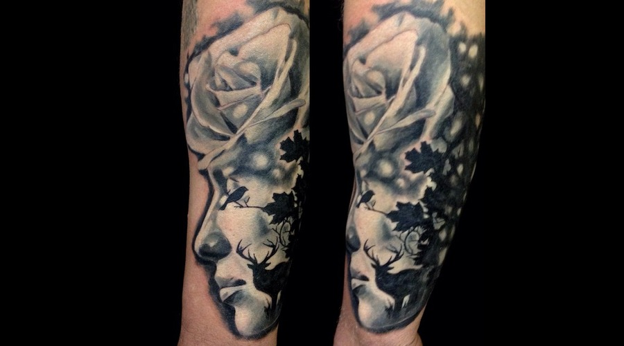 Portrait  Black And Grey Forearm