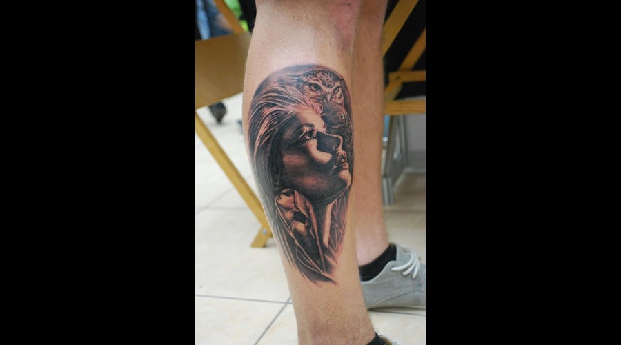 Portrait Realistic Black And Grey Owl Lower Leg