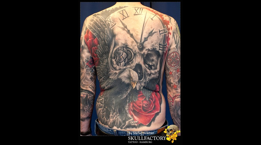 Skull  Eagle  Rose Back