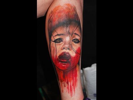 Portrait Color Realistic Scary Face Lower Leg