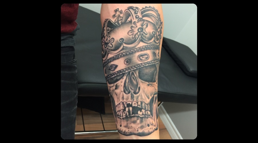 Black And Grey  Skull  Crown  Realism  Portrait Forearm