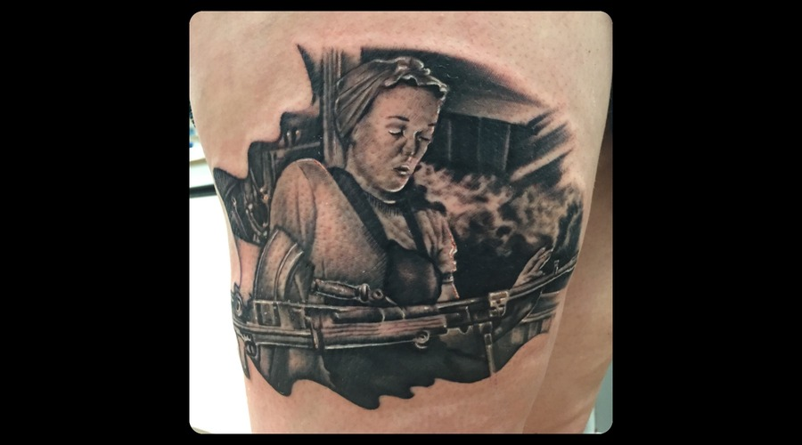 Rosie The Riveter  Black And Grey  Portrait  Realism  Smoke   Thigh