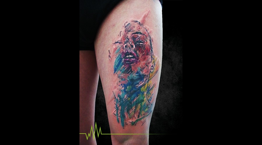 Sketch  Abstract  Girl  Face  Watercolor Thigh