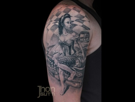 Healed Pin Up Tattoo  Pin Up And Car Tattoo  Pin Up. Shoulder