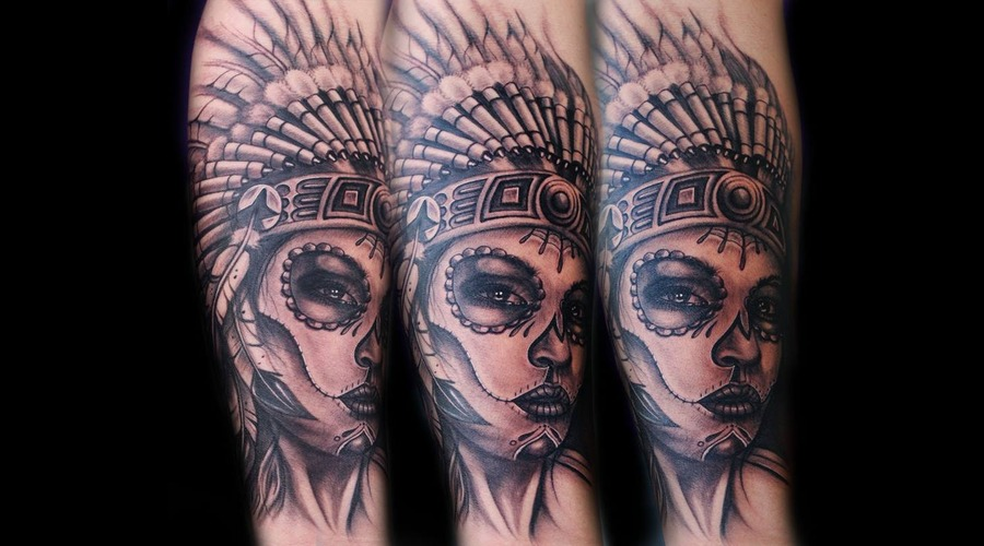 Day Of The Dead  Indian Headdress  Portrait  Black And Grey Black Grey Forearm