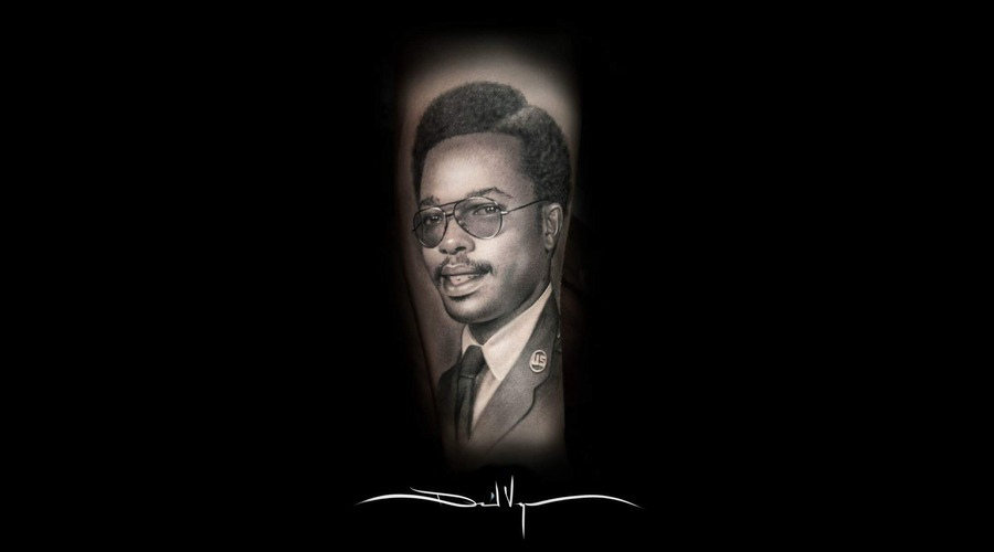 Black And Grey  Realistic  Portrait Forearm