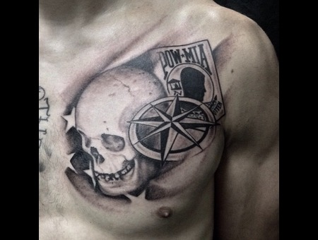 Skull  Pow  Military Tattoo  Flag Tattoo  Compass Rose Chest