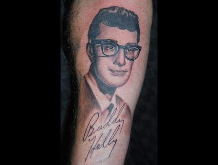 Portrait Realistic Buddy Holly Black And Grey Forearm