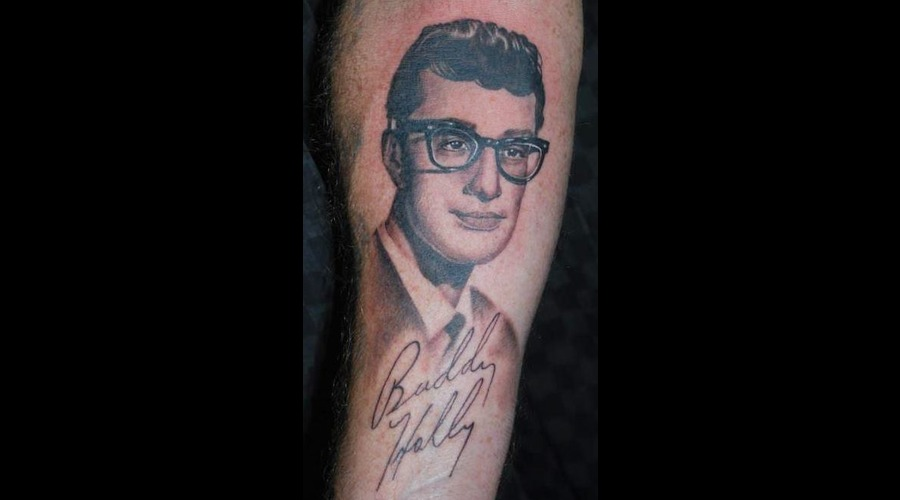 Portrait Realistic Buddy Holly Black And Grey Forearm
