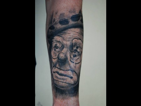 Portrait Realistic Sad Clown Forearm