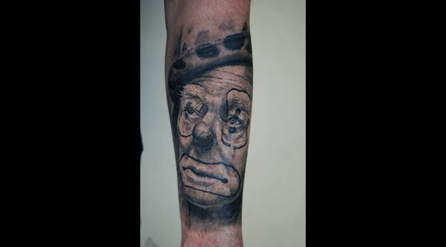 Portrait Realistic Sad Clown Forearm