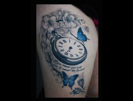 Clock Butterflies Cherry Blossoms Thigh