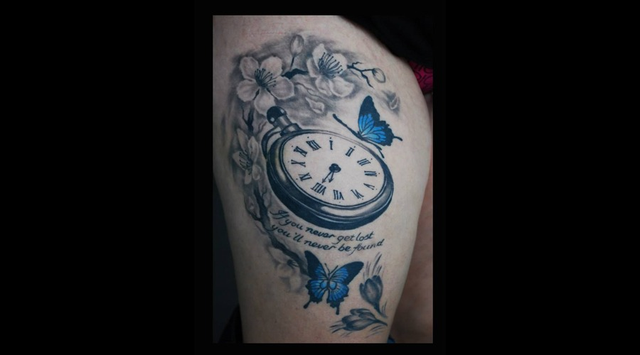 Clock Butterflies Cherry Blossoms Thigh