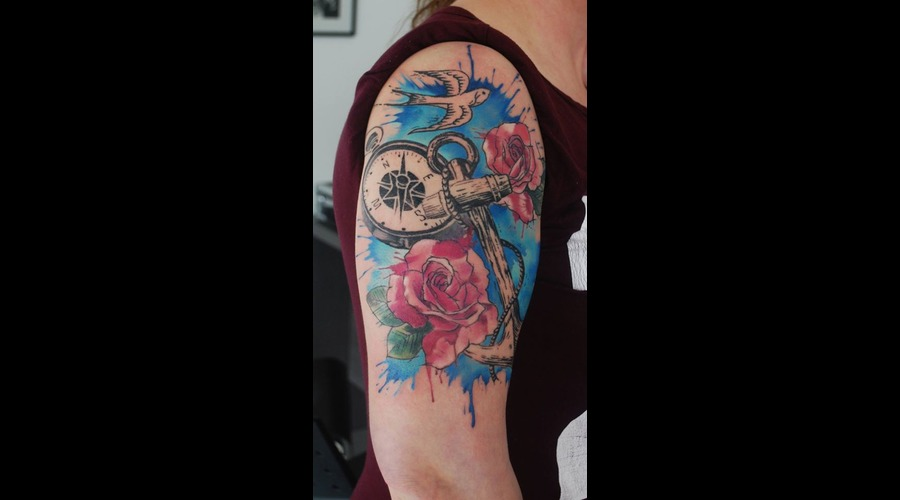 Anchor Compass Watercolour Splashes Roses Arm