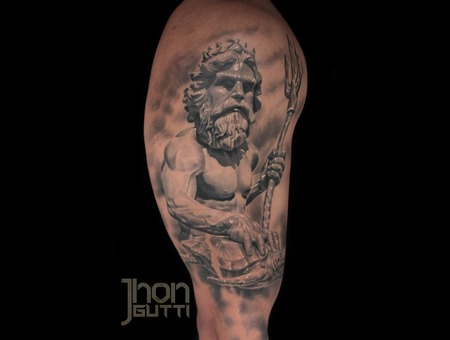 Neptune Statue  Healed Tattoo Arm