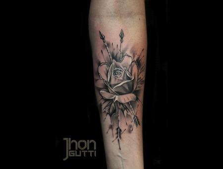 Watercolor Rose  Black And Grey Tattoo Forearm