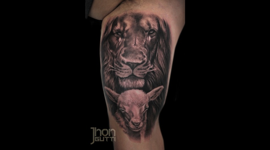 Lion And Lamb  God And Jesus  Lamb Of God. Arm