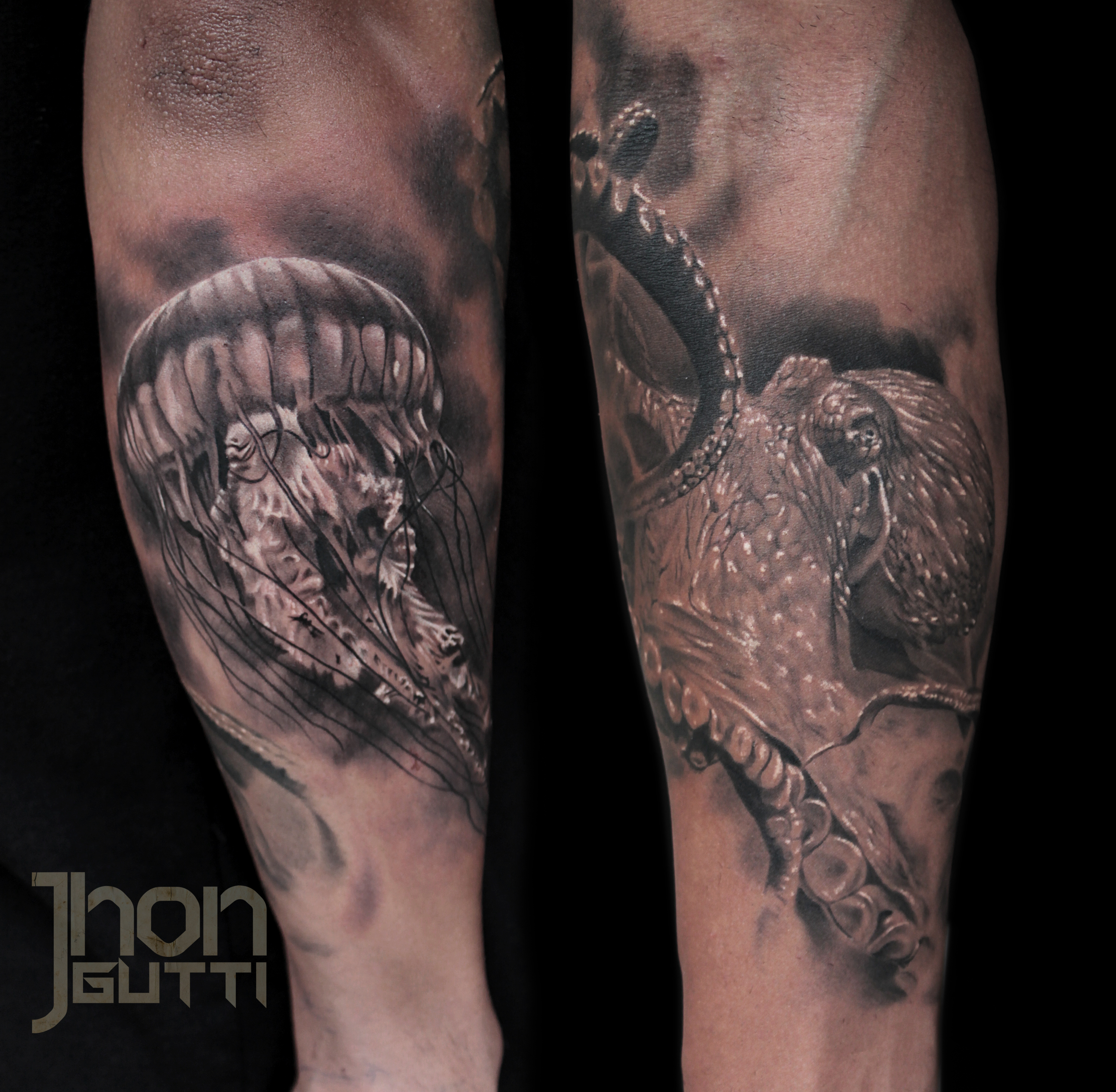 cb8c2af89 Octopus Jellyfish Underwater Black And Grey Tattoo. Forearm