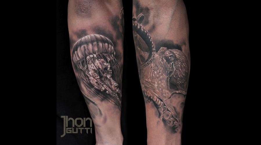 Octopus  Jellyfish  Underwater  Black And Grey Tattoo. Forearm