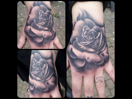 Rose  Realistic  Hand  Tattoo  Realism Arm