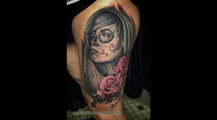 La Catrina  Diadelosmuertos  Day Of The Dead  Face  Portrait  Realistic   Thigh