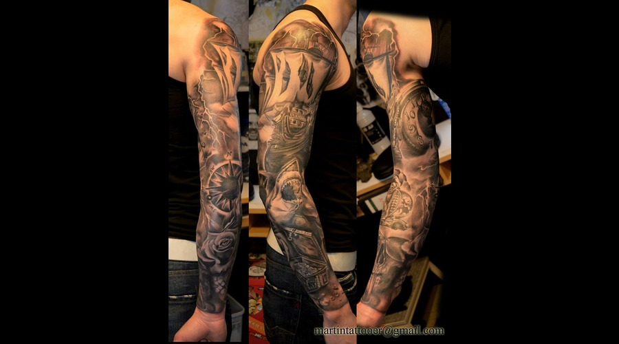Sleeve  Pirates  Tattoo  Black And Grey  Realism  Realistic Ship  Rose   Arm