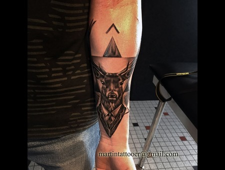 Deer  Black And Grey  Surrealistic  Realistic  Realism  Arm